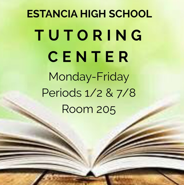 Tutoring Center open Monday through Friday during Periods 1, 2, 7, and 8 in Room 205